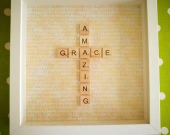 Handmade - scrabble art - scrabble letter frame - gift - Amazing Grace - music