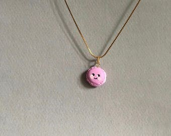 Handmade cute kawaii polymer clay charm pendant miniature pink macaron with gold chain sweet gift
