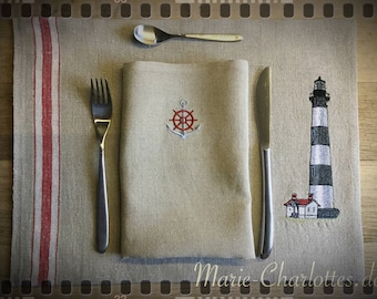 "Embroidered Placeset with napkin ""Lighthouse 4"""