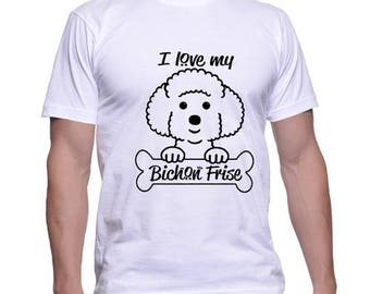 Dog Lovers Tshirt I Love My Bichon Frise