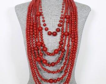Long Layered  Beaded Necklace Set
