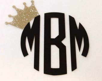 Crown and monogram decal, SALE