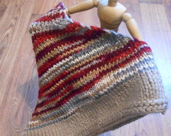 SALE Striped Red Beige Triangular Cowl Wool