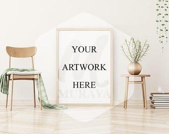 Wood Frame Mockup, Wood Portrait Frame, Styled Stock Photograpy, Scandinavian Style Interior, PSD Mockup, Digital Item, Gold Decor, Plants