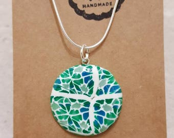 Polymer clay, green marbled effect necklace.