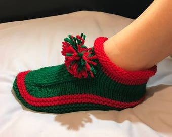 Holiday Knitted Slippers, Knitted House Slippers, Knitted Indoor Slippers, House Shoes, Holiday Gifts