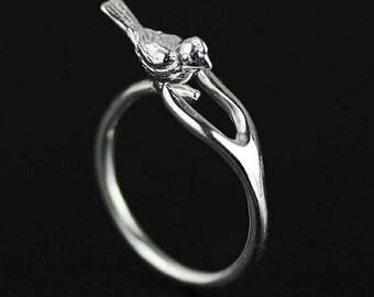 925 Anel de Prata Esterlina Lindo Pássaro e Osso do Desejo Anéis Ajustáveis para As Mulheres