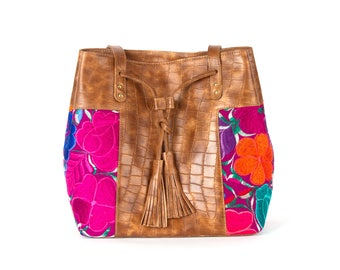 MAYA-leather handbag with handmade embroidery