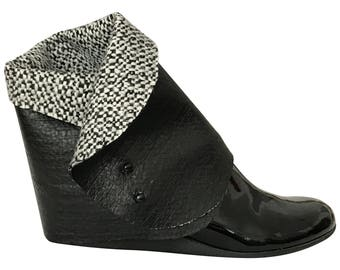 Shoelusions: booties, leather & wool knit bouclé shoe accessories