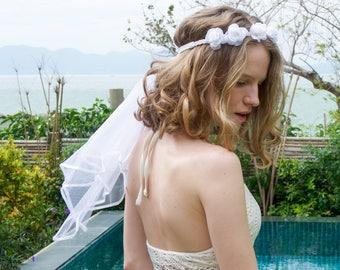 Bachelorette Party Veil - Boho Flower Crown Veil - Boho Crystal Veil | Bridal Veil | Wedding Veil, Bridal Shower Favor + Engagement Decor