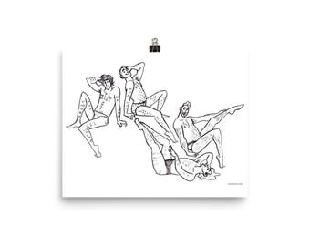 Lounging Men Print