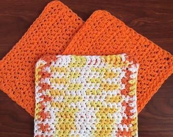 Set of 3 Crochet Washcloths