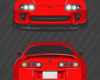 JDM Toyota Supra Mk IV Poster / Vector Clipart