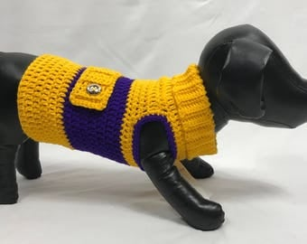 Pretty in Yellow and Purple Dog Dress with Turtle Neck Size Small/Medium