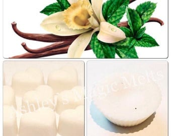 3 minty vanilla soy wax melts, strong scented melts, mint wax melts, sweet melts, long lasting melts, cheap wax melts