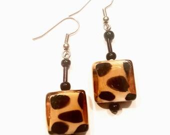 Cheetah glass dangling earrings