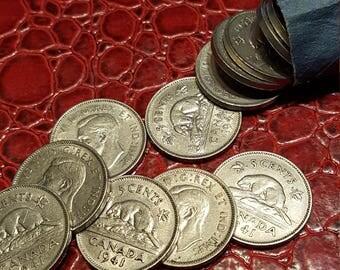 Canada 1941 5 Cents George VI Canadian Nickel