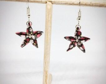 Boucles d'oreilles fleurs bardane en origami