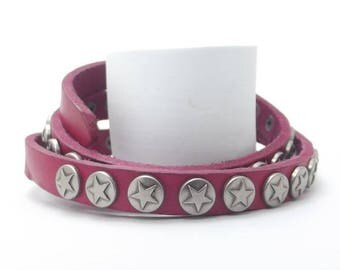 Genuine Leather Wristband, 3 Wrap, Pink Color Punk Style, Sale Items, Best Selling, Gift For Women, Free Shipping, Punk Style, Top Selling