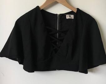 Black Criss Cross Crop Top