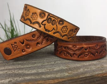 """Hand Stamped 3/4"""" Cuff/Stamped Leather Cuff/Leather Bracelet"""