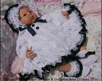 "Knitting Pattern Leaf and Bud Matinee Set 16-22"" doll (preemie-3m+ baby)"