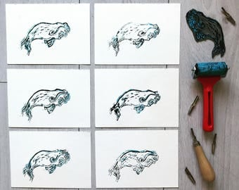 Limited edition Wavy Whale Lino Prints