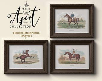 Set of 3, Printable Wall Art, The Ascot Collection Vol. 1, Equestrian Exploits, Paintings, Antique Pictures, Hall Decor, Living Room