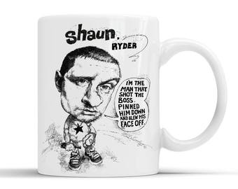 Shaun Ryder quotes Lazyitis on the side of a Ceramic Mug