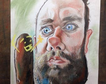 Caricatures from Photos in full colour using black ink and colour pastels.