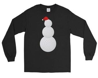 Funny Christmas Golf Ball Snowman T-Shirt Long Sleeve T-Shirt