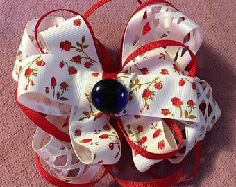 Fancy Bow, Stacked Boutique, Red Barrette, Easter Bow, Boutique Bow, Wavy Bow, layered over the top, Blue Glass in center, 6 1/2""
