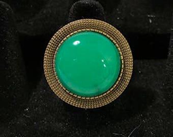 Green Onyx CabochonAdjustable  Statement Ring