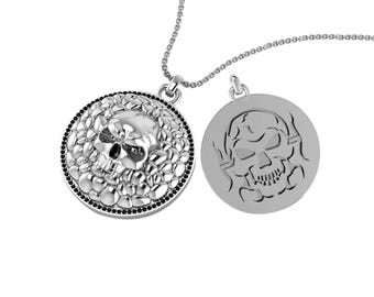 """Solid Sterling Silver Cobblestone Skull Necklace with 24"""" Singapore Chain."""
