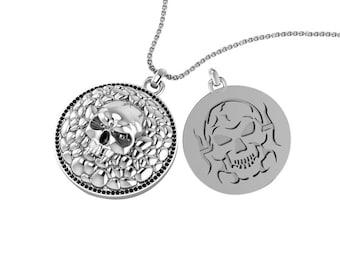 Sterling Silver Cobblestone Skull Necklace