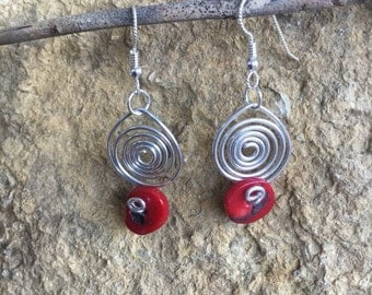 Coral and Sterling Silver Spirals