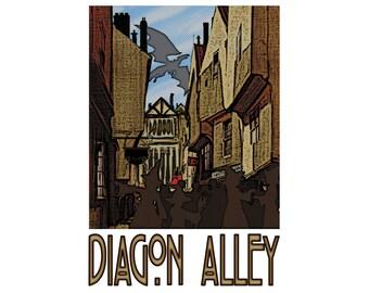 "Diagon Alley 13"" x 19"" Travel Poster - Potterverse"