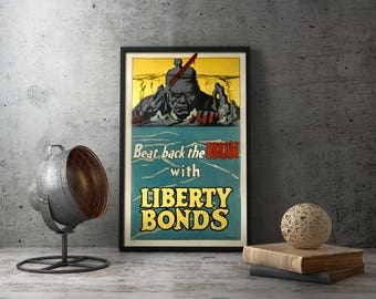 Printable Art -  Liberty Bonds - ww1 poster, war bonds, printables, world war one poster, wwi poster, united states poster, world war poster