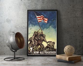 WW2 American Propaganda Poster Iwo Jima Battle - Framed, Unframed, wall art, military decor, memorabilia, japan, japanese wwii, patriotic