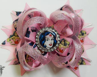 Wonder Woman Super Hero Glitter Pink Boutique Stacked Over The Top Hair Bow