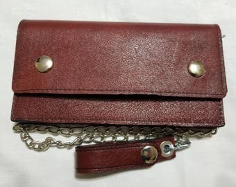 Red Leather Biker Chain Wallet
