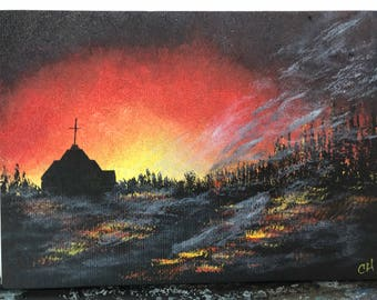 Hand painted magnet fire scene church 5x7 signed