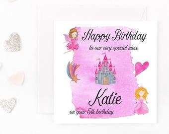 Personalised Princess Birthday Card, Handmade Girls Birthday Card, Any Name, Age, Wording Daughter, Granddaughter Niece Sister Birthday Card
