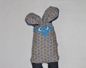 Blue and grey Hare glasses, handmade, unique soft toy