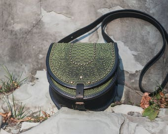 Olive bag with metal, round leather bag, embossed bag, green leather purse, crossbody bag, tooled green bag, gift for her, olive purse