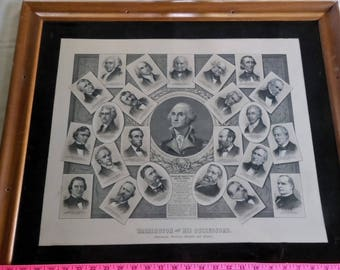 G. Washington & His Successors  Framed Lithograph 1897