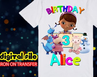 Iron On Transfer Dr Mcstuffins Birthday Shirt, Dr Mcstuffins Iron On Transfer, Dr Mucstuffins Birthday Girl Iron On Transfer, Personalize