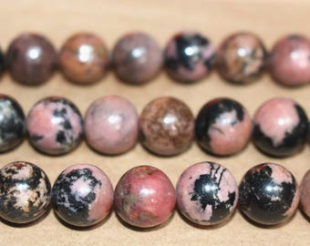 15 Inches Full strand,Black Banded Rhodonite round beads 6mm 8mm 10mm 12mm beads,loose beads,semi-precious stone