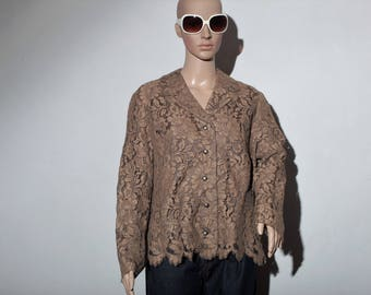 Brown lace 80's shirt