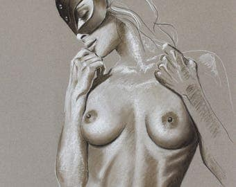 Drawing of a nude woman in mask SM, pastel, original erotic, nude drawing sketch